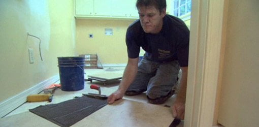 Laying a tile floor