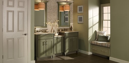Renovated bathroom with Merillat cabinets