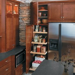 Kitchen with wood cabinets and pullout shelves