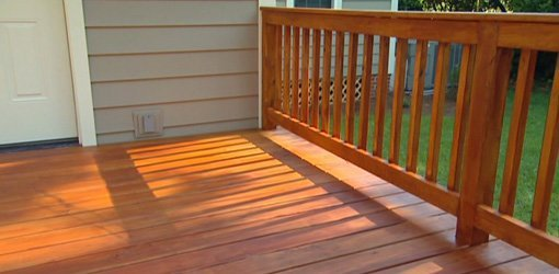 Freshly stained wood deck.