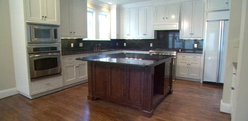 Remodeled kitchen with center island.