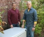 Allen Lyle and Danny Lipford standing next to Generac whole house generator.