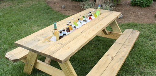 How To Make A Picnic Table Drink Trough Todays Homeowner - Picnic table bracket kit