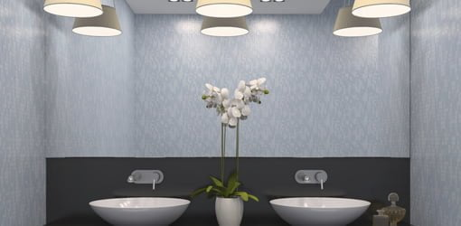Dual Bathroom Sinks With Multi Bulb Overhead Lighting
