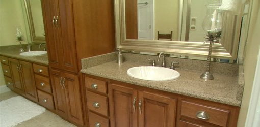 Vanities in completed master bathroom renovation project.
