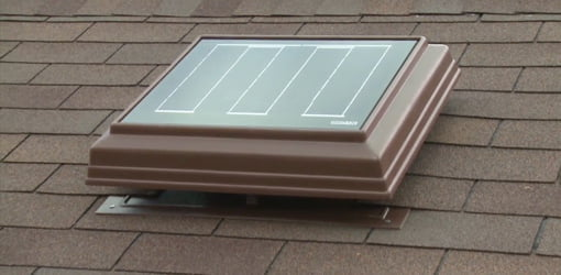 Solar powered attic ventilator.