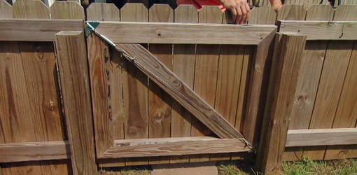 Anti Sag Gate Kit Installed On Wooden Fence To Prevent Sagging