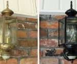Light fixture before and after painting.