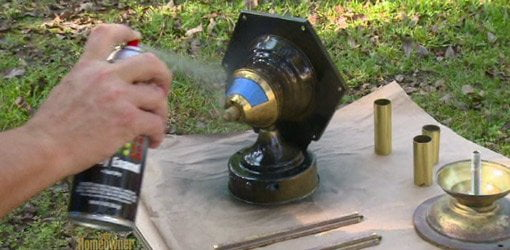 Spray painting an outdoor brass light fixture