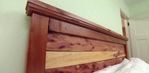 Finished cedar headboard.
