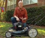 Danny Lipford with lawn mower.