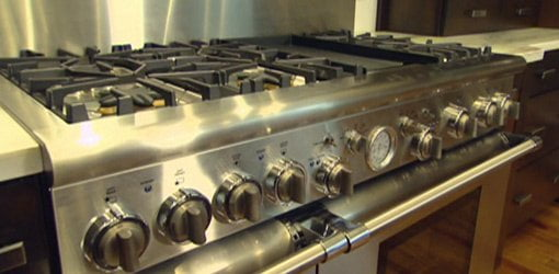 Stainless steel gas range.