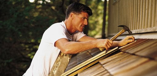 Repairing a roof is good exercise.