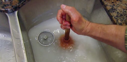 Using A Plunger To Unclog A Kitchen Sink.