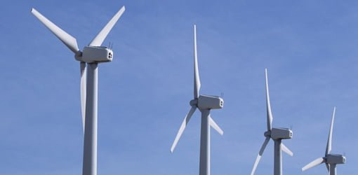 Wind turbines generating electricity.