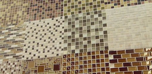Display of different patterns of designer mosaic tiles.