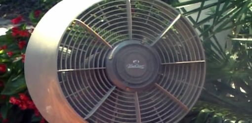 Portable fan with built-in water misting system.