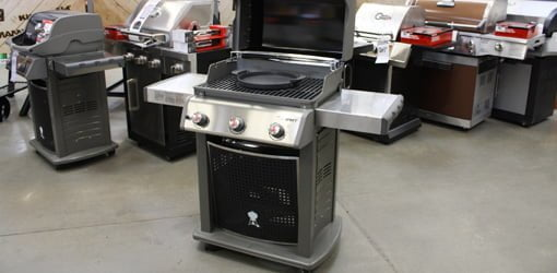 Weber Spirit gas grill with removable, cast-iron griddle.