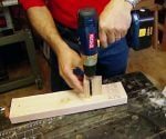 Drilling hole with drilling jig.