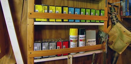 ... nail and screw boxes spray. DIY shelves in open stud wall in a workshop. & DIY Workshop or Garage Storage Shelves | Todayu0027s Homeowner