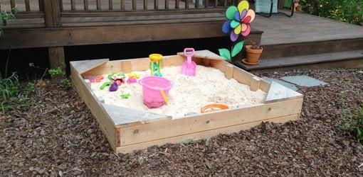 Completed cedar sandbox.