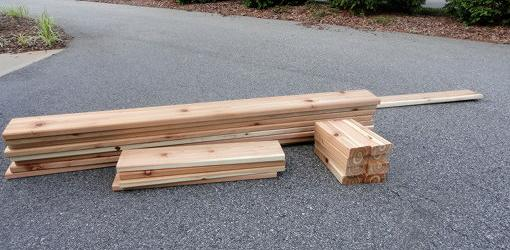 Cedar lumber for sandbox.