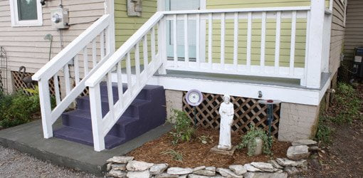 wood deck repair diy porch after replacing rotten flooring and painting wood repair painting project todays homeowner