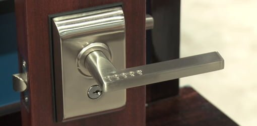 Liscio keyless entry door lock from Emtek in satin nickel finish.