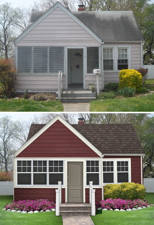 Small pink/red house with white trim.