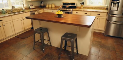 Kitchen With New Island And Solid Walnut Countertop