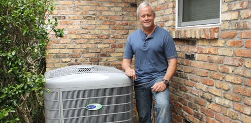 Danny Lipford with Carrier central air conditioner unit.