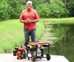 Danny Lipford standing on dock at pond with Generac water pumps.