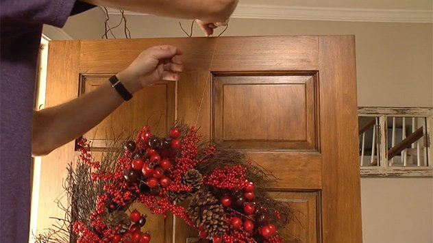 hanging wreath with fishing line