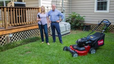 Chelsea Lipford Wolf and Danny Lipford prep for summer with the Toro TimeMaster lawn mower, NuTone Haven mosquito-repelling fixtures, and Champion Power Equipment home standby generator.