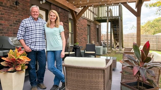 Danny Lipford and Chelsea Lipford Wolf with Completed Patio Project