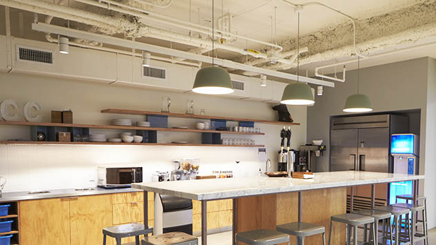 Kitchen area with exposed pipes, Los Angeles